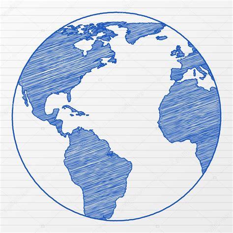 drawing world globe  stock vector  julydfg