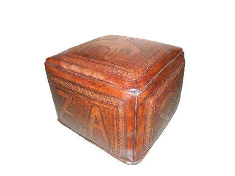 large square leather ottoman tooled leather large square ottoman with bronco and brand