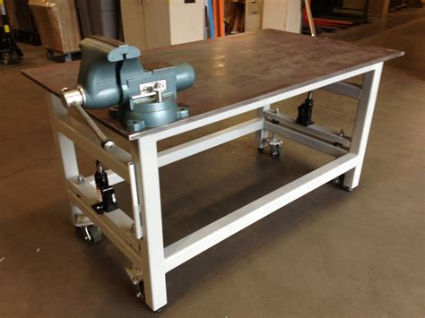 shop table on wheels heavy duty work bench with retractable wheels