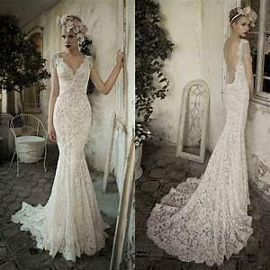 100 real picture mermaid lace wedding dresses backless v With lace wedding dress with sleeves and open back