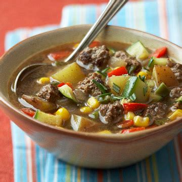 My husband is a hearty meat and potatoes man and ground beef is a great way to fill him up. Buffalo Vegetable Soup | Diabetic Living Online
