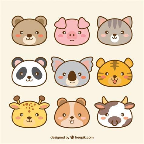pack de animales kawaii dibujados  mano descargar