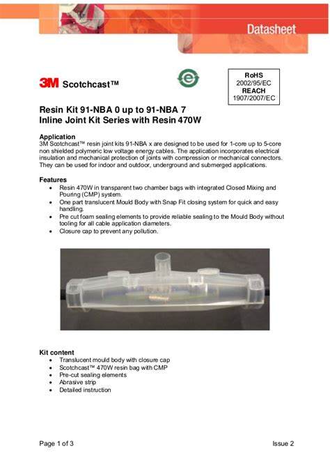 scotchcast 3m resin kit 470w cables unarmoured jointing core cable inline nba1 joints joint nba slideshare nba3