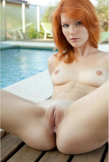 Freckled Mia Sollis strips out of bikini by the pool