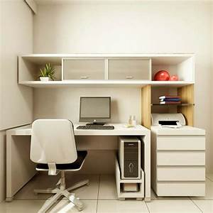 Wonderful small home office design with white desk for Small office design