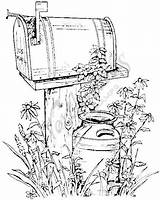 Mailbox Wood Rural Coloring Pages Burning Patterns Drawing Pyrography Fall Stamps Rubber Country Adult Pencil Stamp Painting Northwoods Designs Sheets sketch template