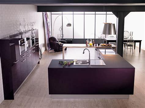 cuisine a l americaine meuble cuisine aubergine