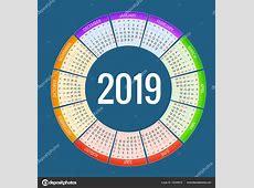 Красочные круглые дизайн календаря 2019, печати шаблон