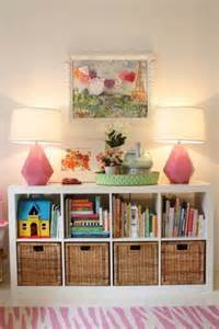 genius idea ikea expedit shelves with baskets for storage