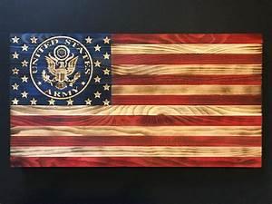 38 x 19 Wooden American Flag w/ U.S. ARMY Emblem