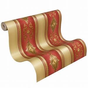 satintapete barock streifen hermitage glanz rot 6830 14 With balkon teppich mit versace medusa tapete