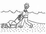 Coloring Grass Mowing Grandfather Almost Finish Mow Plants Template Colorluna sketch template