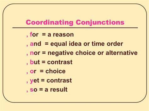 Coordinating Conjunctions Example Sentences