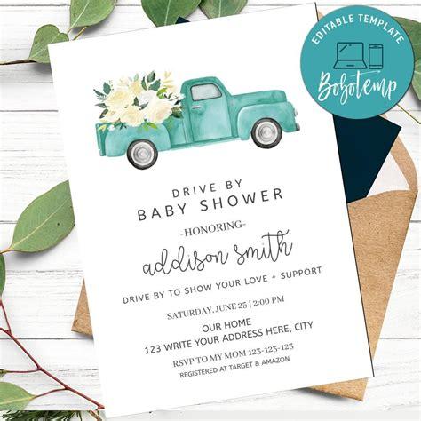 boy drive  baby shower invitation  print  home diy