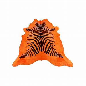 tapis peau de vache cuir zebre orange de 35 m2 qualite With tapis peau de vache avec destockage canapé d angle