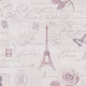 Retro Pink Bathroom Decor by Holden Calligraphy Paris Vintage French Postcard Wallpaper