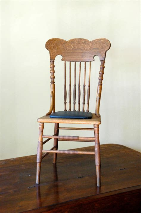 antique pressed back spindle chair home