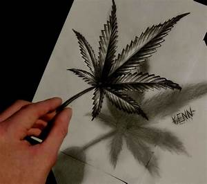 Drawn marijuana leaf draw - Pencil and in color drawn ...