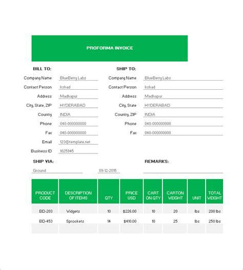 proforma invoice template   excel word