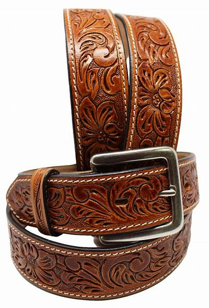 Western Leather Belt Tooled Cowboy Floral Rodeo