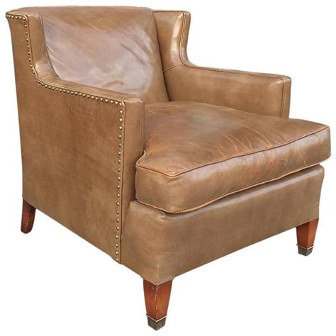 mid century leather club chair by hickory chair company