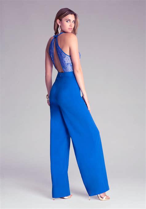 blue jumpsuit womens lyst bebe lace bodice wide leg jumpsuit in blue