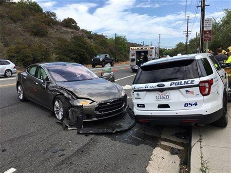 Tesla Hits Parked California Police Vehicle, Driver Blames