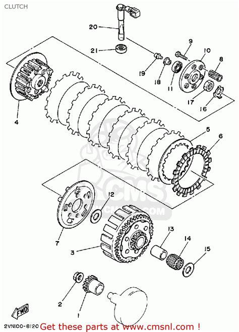 yamaha yz125 competition 1988 j usa clutch schematic partsfiche