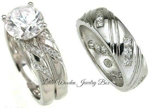 His And Hers 925 Sterling Silver 14k White Gold Wedding