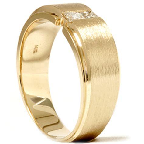 mens gold princess cut brushed wedding ring ebay