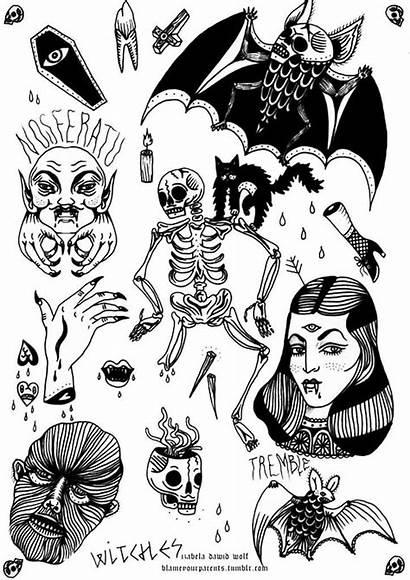 Flash Tattoo Traditional Skull Tattoos Horror Bat
