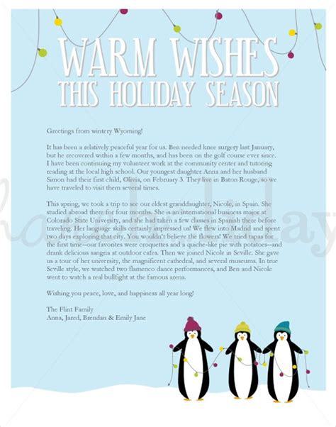holiday letter templates  sample  format