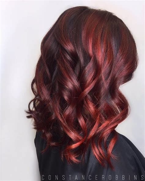 17 Best Ideas About Black Hair Red Highlights On Pinterest