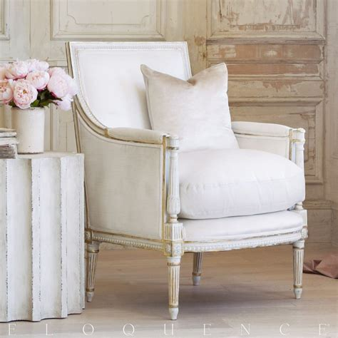 eloquence furniture eloquence minerva bergere in antique white with gold leaf