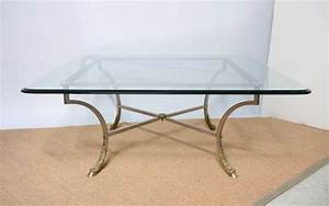 square beveled glass top with steel and brass base coffee With 3 foot square coffee table