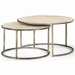 Hammary modern basics round cocktail table with nesting for Round stacking coffee table