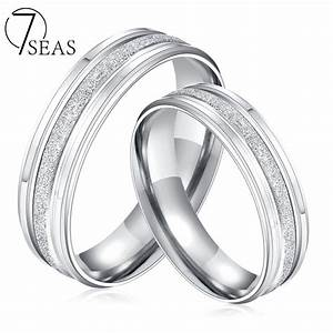 7seas stainless steel couple rings silver color dull With his and hers wedding rings silver
