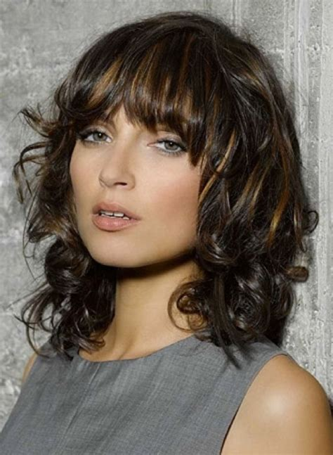 medium length curly hair style 25 curly hair with bangs bangs curly hair 7709