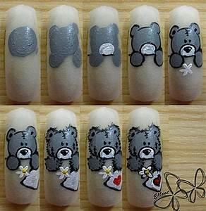 teddy bear nail art tutorial, cute!! | Nails | Pinterest ...