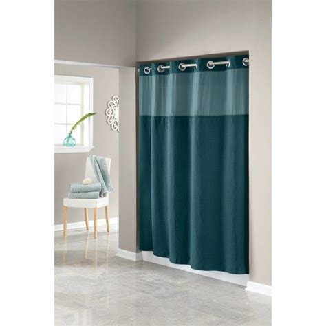 hookless 174 waffle teal 71 w x 74 l fabric shower curtain