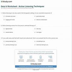 Quiz & Worksheet  Active Listening Techniques Studycom