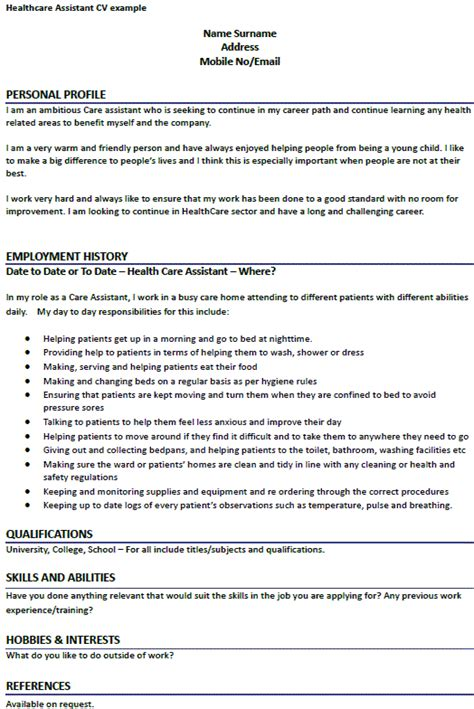 Health Care Assistant Curriculum Vitae by Healthcare Assistant Cv Exle Forums Learnist Org