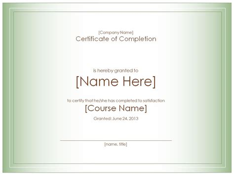 certificate  completion template certificate