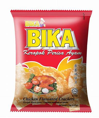 Bika Crackers Chicken Snacks Flavoured Confectionery 70g