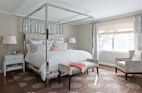 chrome canopy bed dove gray velvet tufted bed with white and gold hotel