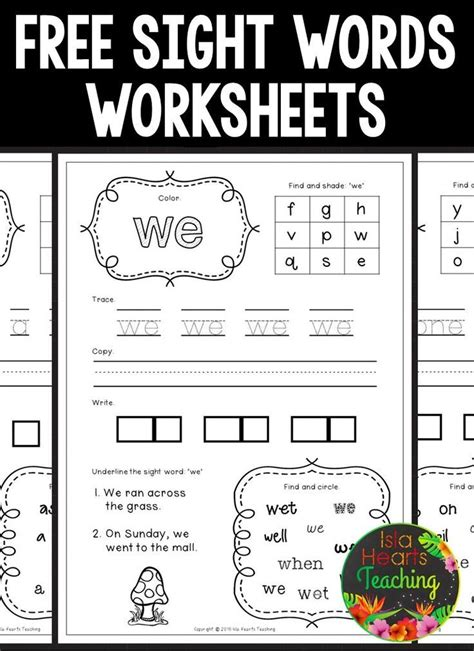 sight words preschool worksheets free and