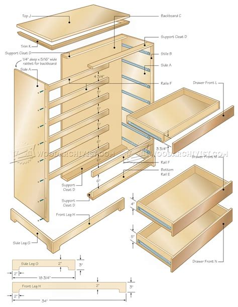 tall chest  drawers plans woodarchivist