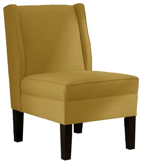 skyline furniture linen wingback chair yellow