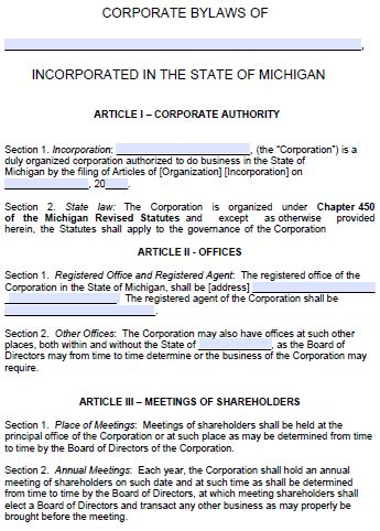 michigan corporate bylaws template  word