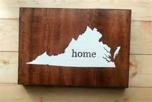 Virginia State Map Home Wood Sign